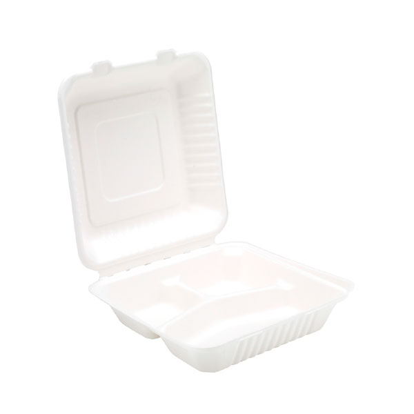"""SUGARCANE 9"""" CLAMSHELL 3 COMPARTMENTS 2x100 BIODEGRADABLE - 91013"""