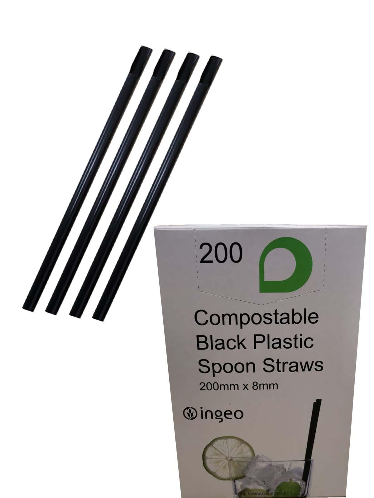 BLACK PLASTIC SPOON STRAWS  (200x8mm) 200's COMPOSTABLE