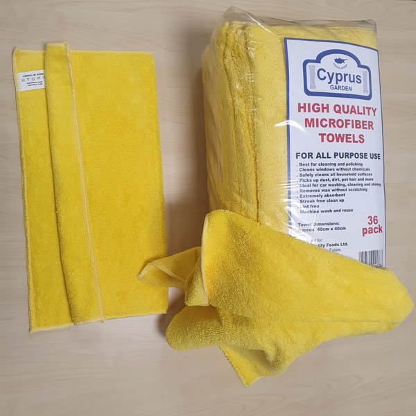 YELLOW / BLUE QUALITY  MICROFIBRE TOWELS 36's