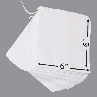 """WHITE SULPHITE TAKEAWAY BAGS 6x6""""  1x1000"""