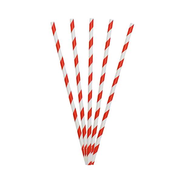 BIO ZOLVE 250's RED STRIPE  PAPER  STRAWS