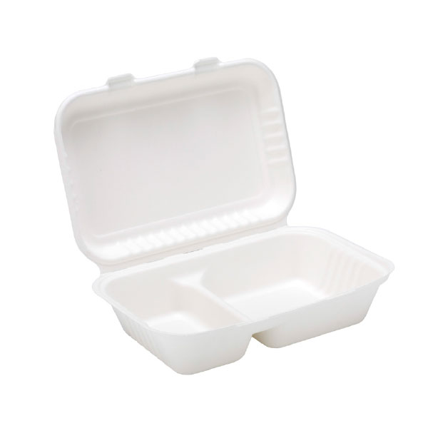 """SUGARCANE 9x6x3"""" 2 COMPARTMENT CLAMSHEL 2x125 BIODEGRADABLE - 91017 MEAL BOX 2"""