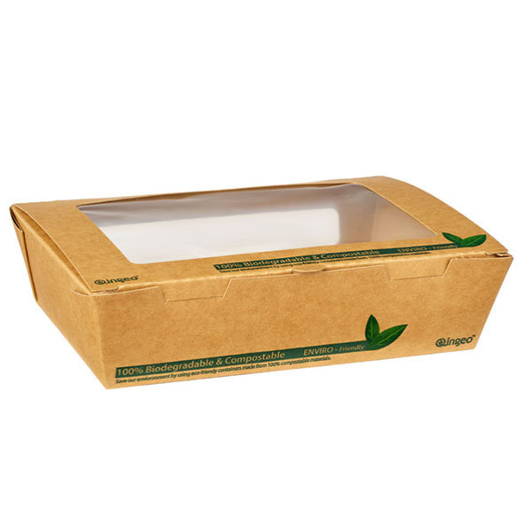 1200ML COMPOSTABLE TUCK TOP SALAD BOXES 4X50 PTODUCT CODE: 61003