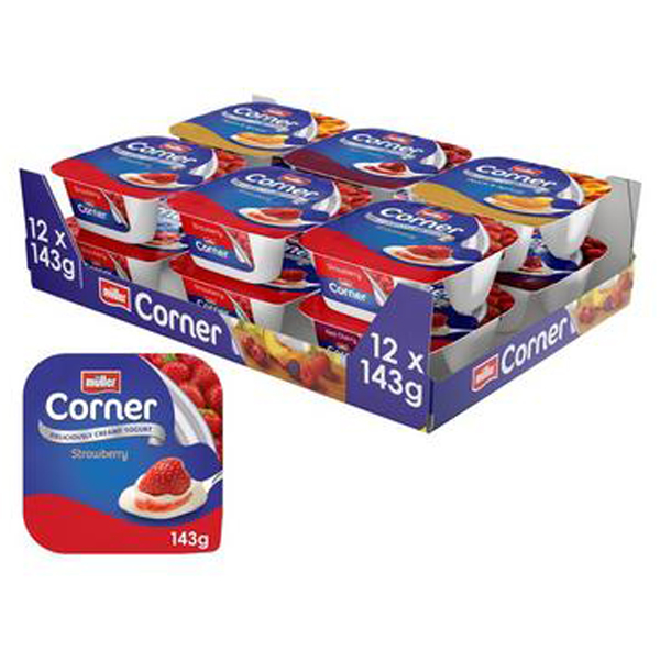 MULLER FRUIT CORNER MIXED CASES 12x143g STRAWBERRY- CHERRY - PEACH/APRICOT