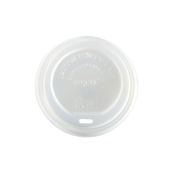 COMPOSTABLE WHITE 10 -16oz DOMED LIDS 10x100 CPLA SIP- THRU ..PRODUCT CODE : 44878
