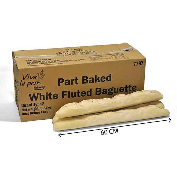 VIVE LE PAIN  FLUTED LARGE BAGUETTE 12x460g (PRODUCT CODE : 7797/ 7022) PART BAKED  60cm