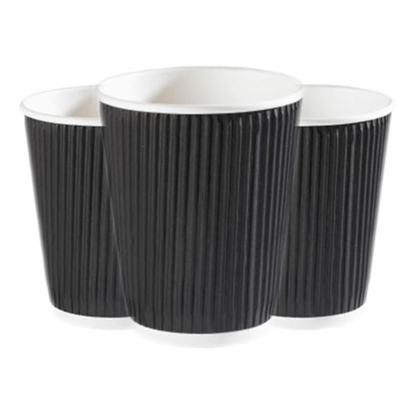 DISPO BLACK 12oz RIPPLE WALL PAPER CUPS 1x500
