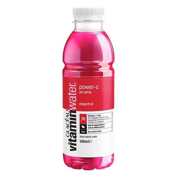 GLACEAU VITAMINWATER POWER-C (RED) 12x500ml  DRAGONFRUIT (C+B'S)