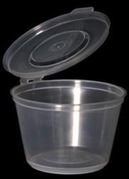 CLEAR 1oz 30cc SAUCE CUPS & LIDS HINGE 1x1000