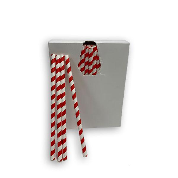 RED STRAIGHT  PAPER STRAWS (200 x 8mm) 200's