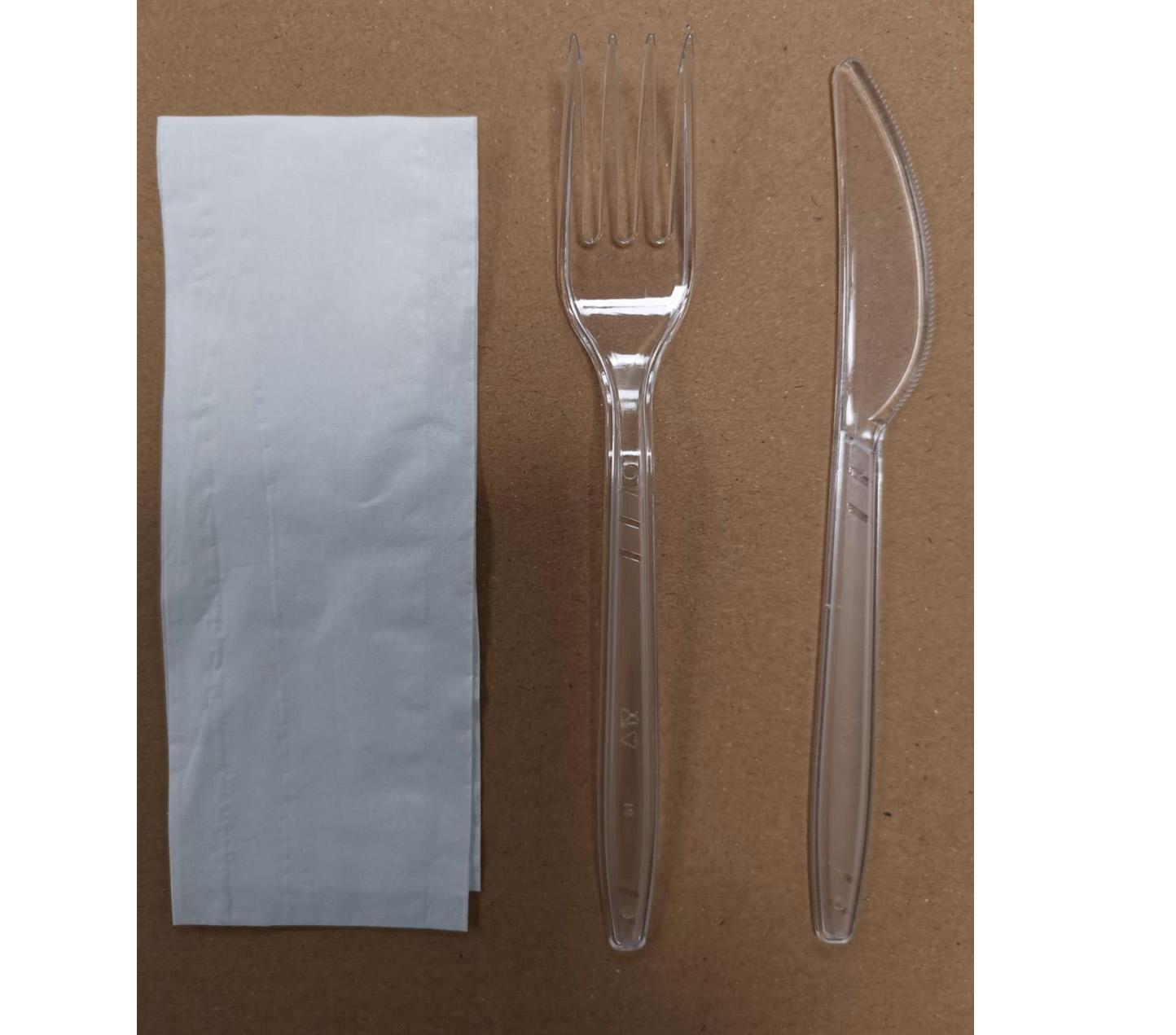 SET 3-1 PLASTIC FORK, KNIFE & NAPKIN 250's MEAL PACK