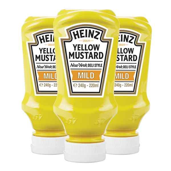 HEINZ MILD YELLOW MUSTARD 8 x 220ml  (250g) TABLE TOP