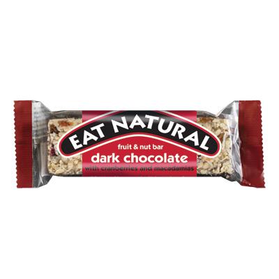 EAT NATURAL DARK CHOCOLATE 12 x45g FRUIT & NUT BARS  WITH CRANBERY & MACADAMIAS