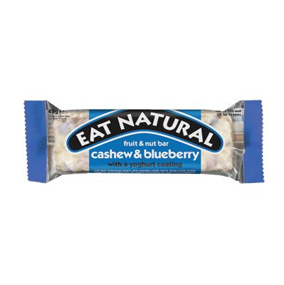 EAT NATURAL CASHEW & BLUEBERRY 12 x45g FRUIT & NUT BARS  WITH YOGHURT COATING
