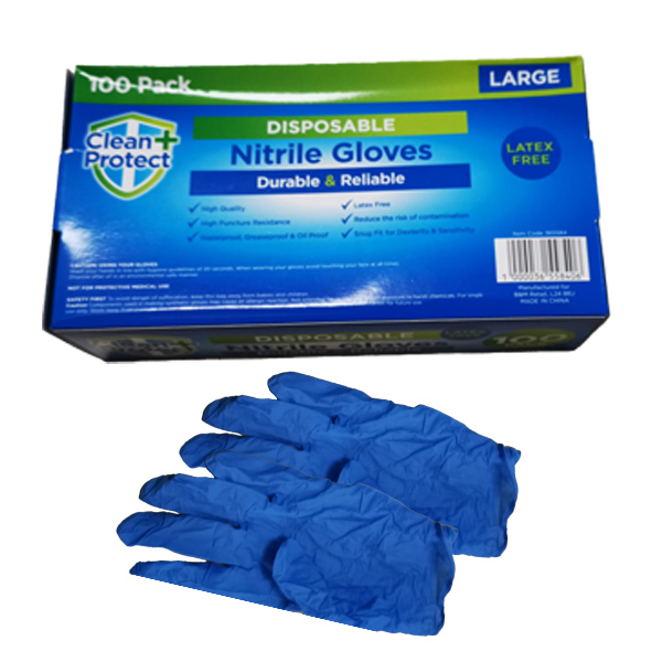 CLEAN PROTECT  NITRILE  GLOVES LARGE 1x100