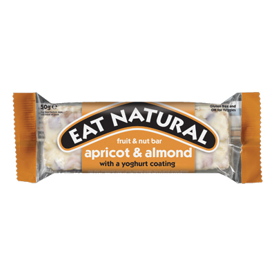 EAT NATURAL ALMOND & APRICOT 12 x45g FRUIT & NUT BARS  WITH YOGHURT COATING