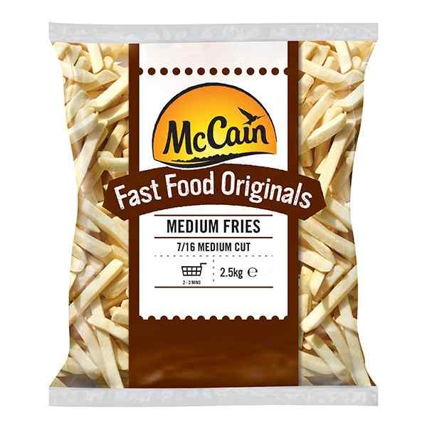 MCCAIN FAST FOOD ORIGINALS 7/16 MEDIUM CUT FRIES 4x2.27kg ( 8156 )