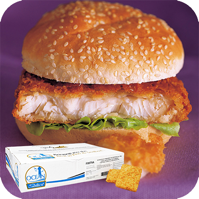 BREADED COD BURGERS ( PORTION )30x100g SQUARE