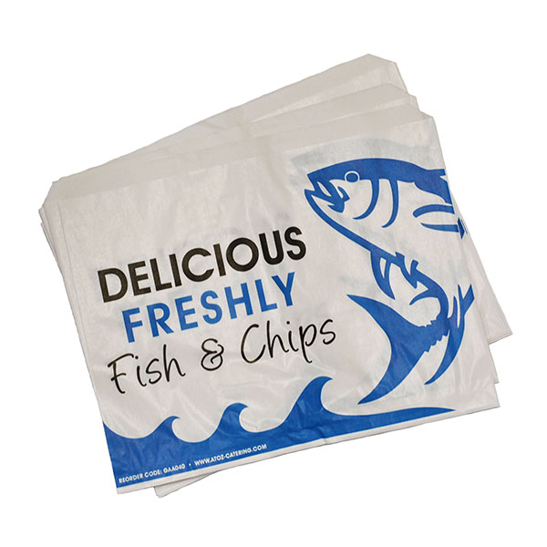 DELICIOUS FISH & CHIPS  BAGS 11x14  1x500 280X350mm - Bleached Kraft