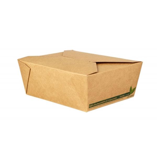 NO8 COMPOSTABLE PLA 46oz KRAFT FOOD CONTAINER 6x50 - 39006 - DispoPak