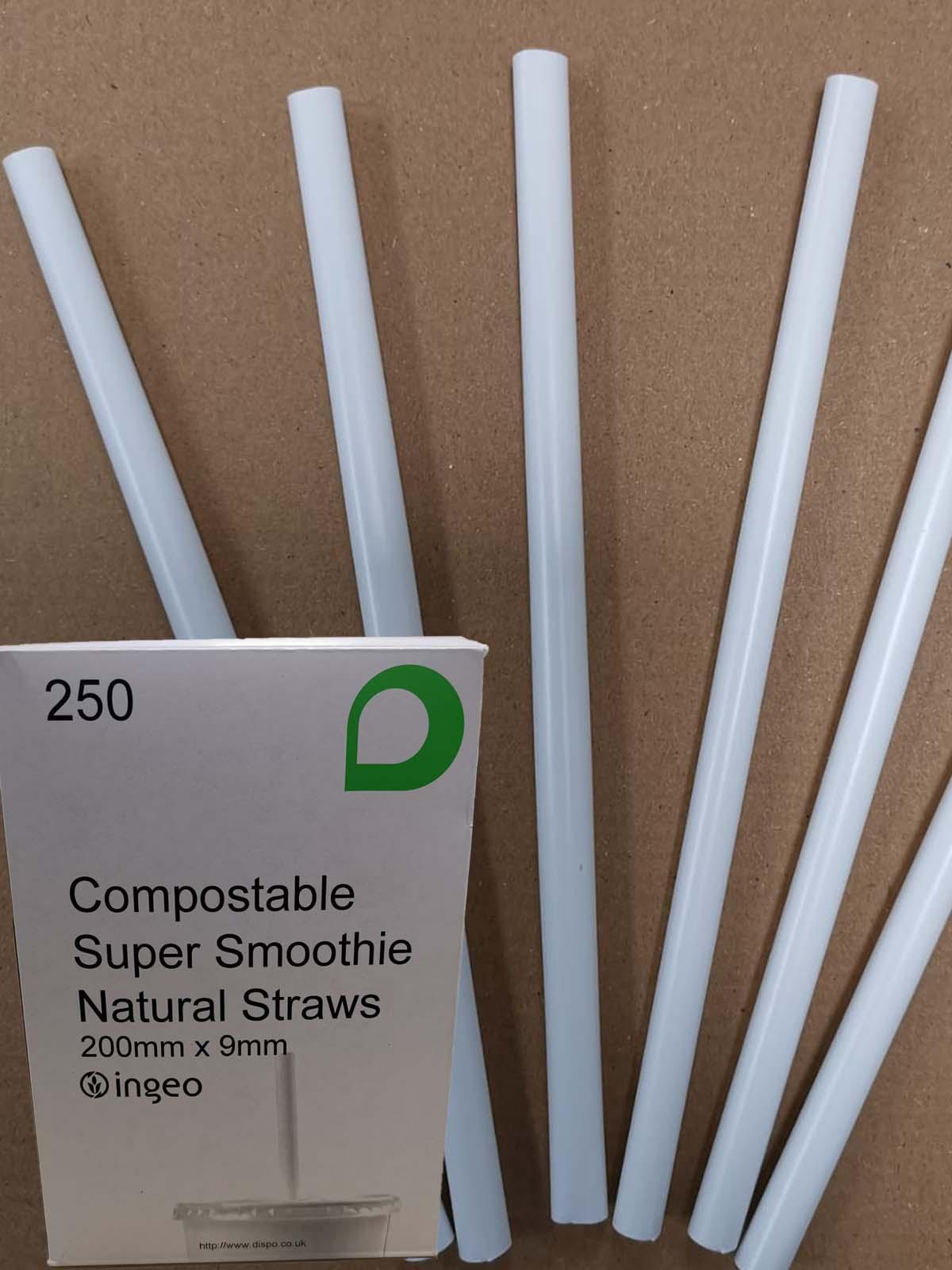 PLA WHITE SMOOTHIE STRAWS  (200 x9mm) 250's COMPOSTABLE PLASTIC