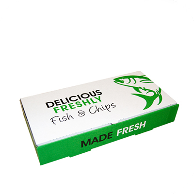 """9"""" DELICIOUS FISH & CHIPS BOXES SML  1x100 237 x 152 x 51  (LxWxH)"""