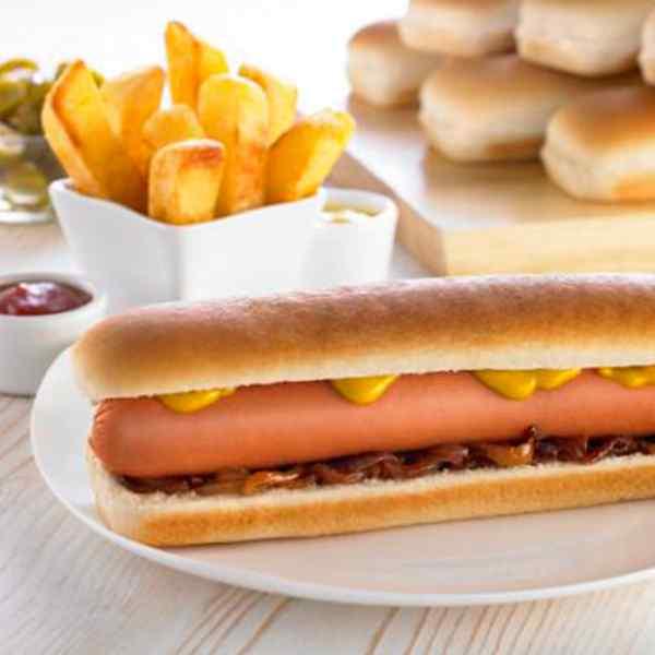 "8.5"" EURO SIDE SLICED JUMBO HOT DOG ROLL  6x8 AMERICANA PRODUCT CODE :3003"