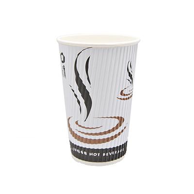 DISPO WHITE 16oz RIPPLE WALL PAPER CUPS 1x500