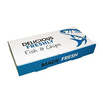 "11"" BLUE DELICIOUS FISH&CHIP BOXES LRG  1x100 304 x 152 x 51mm (LxWxH)"