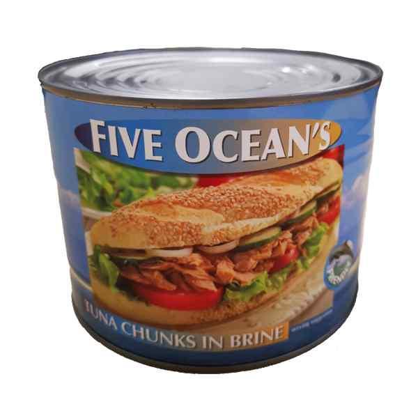 FIVE OCEAN'S TUNA CHUNKS IN BRINE  1x1.700g