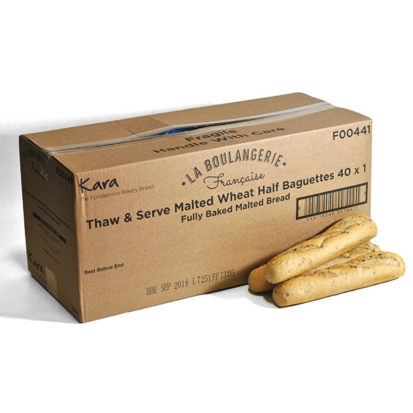 KARA FRENCH STYLE MALTED WHEAT 40x130g FULLY BAKED BAGUETTE F00441 (L275xH45mm)