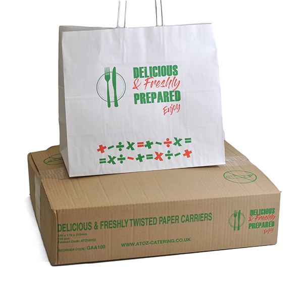 TWISTED HANDLE DELICIOUS & FRESHLY CARRIER BAGS 350x170x310mm 1X100