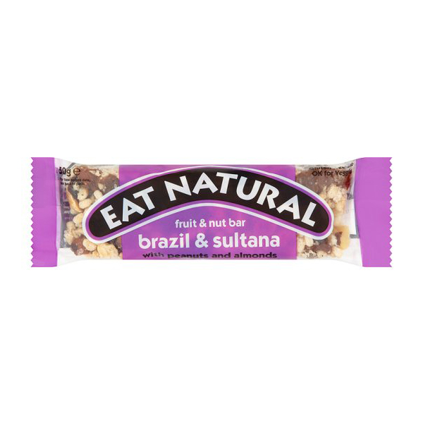EAT NATURAL BRAZIL & SULTANAS 12 x50g FRUIT & NUT BARS WITH PEANUTS AND ALMONDS